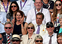 Nigel Farage in the stands of centre court for the Gentlemen's Singles Final on day thirteen of the Wimbledon Championships at The All England Lawn Tennis and Croquet Club, Wimbledon.