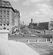 9969-D13. Treasury Dept. steps, looking down Pennsylvania Ave. toward Capitol, Washington, DC, March 24-April 1, 1957