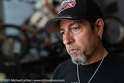 Custom bike builder and musician Xavier Muriel at Billy Lane's new shop in Columbia, TN, USA. Monday, May 24, 2021. Photography ©2021 Michael Lichter.