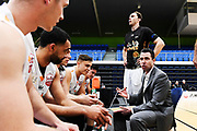 Taylor Hawks head coach Zico Coronel talks to his team.<br /> Super City Rangers v Taylor Hawks, NBL NZ, Trusts Arena, Auckland, New Zealand. 7 July 2018. © Copyright Image: Marc Shannon / www.photosport.nz.