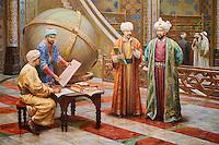 Ouzbekistan, Tashkent, place Tamerlan, Musée Tamerlan, fresque représentant Ulug Bek et Ali Kushchi dans l'observatoire // Uzbekistan, Tashkent, Tamerlan square, Tamerlan museum,  fresco, Ulug Bek and Ali Kushchi in the obesrvatory