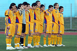 Team of Romania has 1 min silence in the honour of recently dead Romanian handball player  before  Friendly match between U-21 National teams of Slovenia and Romania, on February 11, 2009, in Nova Gorica, Slovenia. (Photo by Vid Ponikvar / Sportida)
