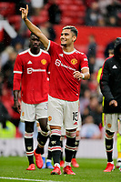 Football - 2021 / 2022 Pre-Season Friendly - Manchester United vs Everton - Old Trafford - Saturday 7th August 2021<br /> <br /> Andreas Pereira of Manchester United acknowledges the home fans after the final whistle, at Old Trafford.<br /> <br /> COLORSPORT/ALAN MARTIN