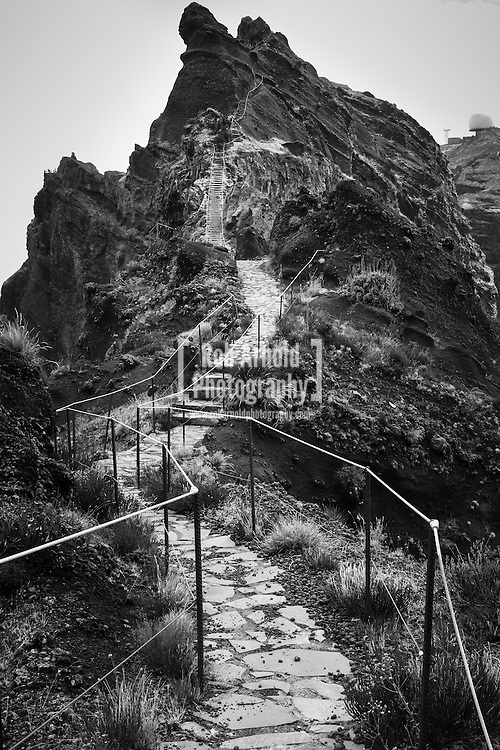 A<br /> A section of the path along the route of a Levada between Pico Areeiro and Pico Ruivo on the Portuguese Island of Madeira. Levada's were built on Madeira to help with water transportation from the wetter north-west of of the island to the drier south-east via irrigation channels.