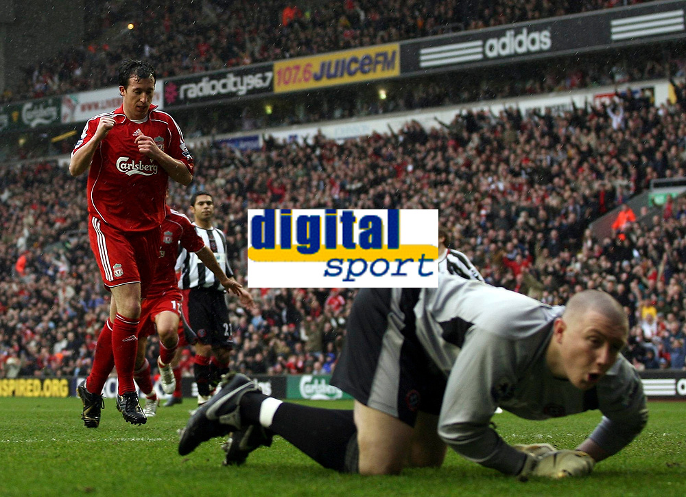 Photo: Paul Thomas.<br /> Liverpool v Sheffield United. The Barclays Premiership. 24/02/2007.<br /> <br /> Robbie Fowler of Liverpool celebrates his first penalty of the after noon, while Utd keeper Paddy Kenny (R) looks away.