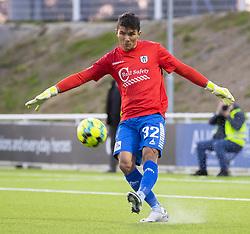 Målmand Kevin Ray Mendoza (Vendsyssel FF) stillede op i en trøje lånt af FC Helsingør under kampen i 1. Division mellem FC Helsingør og Vendsyssel FF den 18. september 2020 på Helsingør Stadion (Foto: Claus Birch).