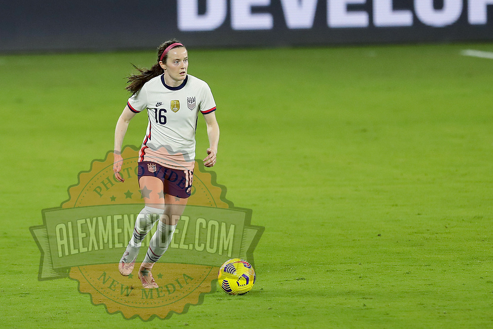 ORLANDO, FL - JANUARY 22:  Rose Lavelle #16 of United States plays against Colombia at Exploria Stadium on January 22, 2021 in Orlando, Florida. (Photo by Alex Menendez/Getty Images) *** Local Caption *** Rose Lavelle