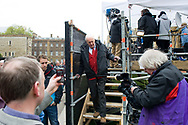 UK. London. The Village Green: From Blair to Brexit.<br /> A story on the relationship between the Media, Politicians and the public as they come together on College Green, a small patch of land next to The Houses of Parliament in Westminster. <br /> Photo shows veteran Left-winger and former Labour MP, Tony Benn after being interviewed, five days after the General Election that returned a new Government formed of the Conservative and Liberal Democratic Parties. <br /> Photo©Steve Forrest/Workers' Photos