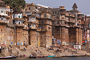Rana Mahal Ghat on banks of The Ganges River in holy city of Varanasi, Northern India