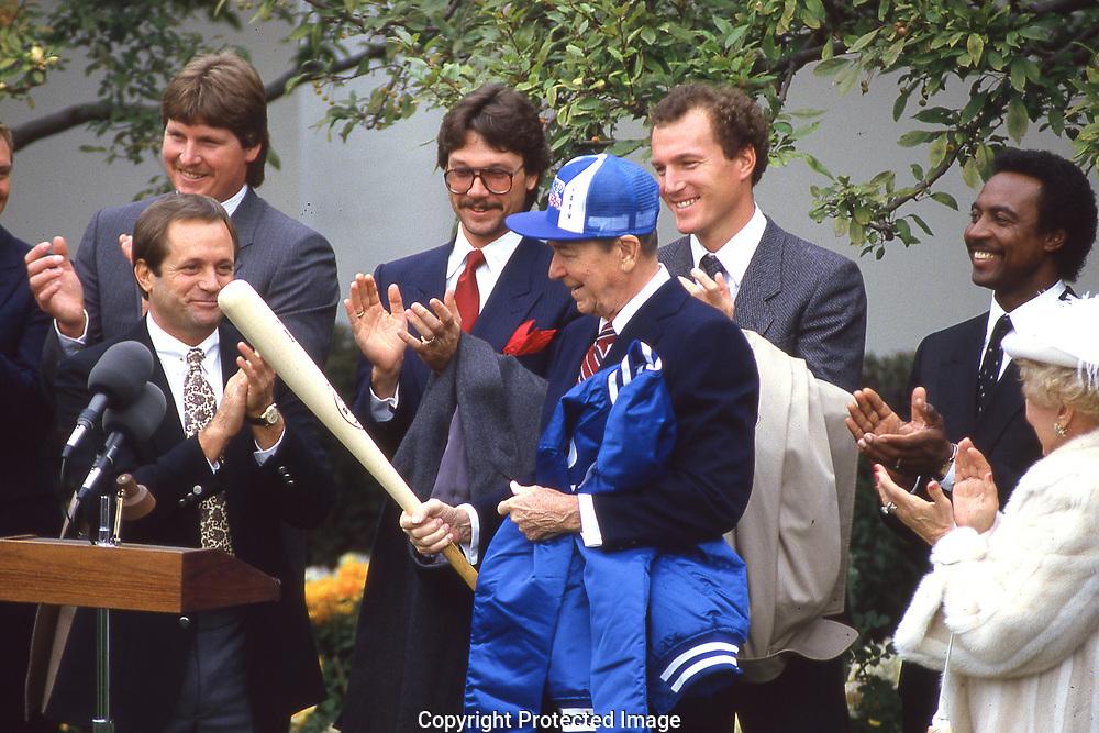 A Rose Garden Ceremony with Reagan wth the Kansas City Royals<br />Photograph ny Dennis Brack. bb78