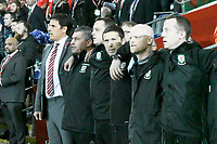 Football - 2017 / 2018 FIFA World Cup Qualifier - Group D: Wales vs. Republic of Ireland<br /> <br /> Wales manager Chris Coleman & his team during the anthems , at Cardiff City Stadium.<br /> <br /> COLORSPORT/WINSTON BYNORTH