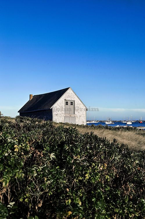 Boat house and Chatham harbor Cape Cod MA