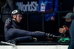 Kristen Santos of USA in action on 500 meter during ISU World Short Track speed skating Championships on March 05, 2021 in Dordrecht