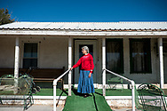 Mary Belle Jones, 89, poses for a portrait outside her home in Mentone, Texas, November 16, 2020. Jones moved to Loving County with her husband in 1953. (Joel Angel Juarez / The New York Times)