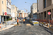 Israel Tel Aviv, Road works and infrastructure replacement in Marmorek street near the Habimah theatre and Mann auditorium.