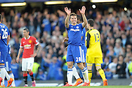 Cesar Azpilicueta of Chelsea celebrates his teams win after the final whistle. Barclays Premier league match, Chelsea v Manchester Utd at Stamford Bridge Stadium in London on Saturday 18th April 2015.<br /> pic by John Patrick Fletcher, Andrew Orchard sports photography.