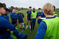 Niyi Adeolokun, Chay Mullins and Jack Bates of Bristol Bears in action during a training session - Rogan/JMP - 04/03/2021 - RUGBY UNION - Bristol Bears High Performance Centre - Bristol, England.