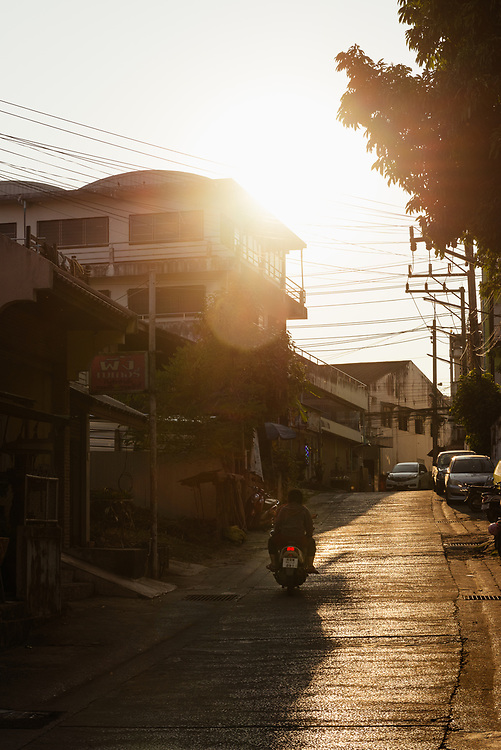 Late afternoon street scene in Chiang Khong, Thailand