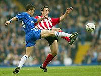 Photo: Scott Heavey, Digitalsport<br /> NORWAY ONLY<br /> <br /> Chelsea v Sothampton. FA Barclaycard Premiership. 01/05/2004.<br /> Joe Cole goes toe to toe with Paul Telfer