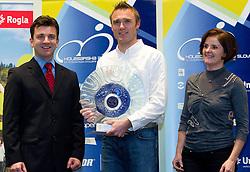 Ales Kalan, Uros Murn and Milena Cernilogar Radez, president of KZS during the Slovenia's Cyclist of the year award ceremony by Slovenian Cycling Federation KZS, on December 11, 2010 in Hotel Mons, Ljubljana, Slovenia. (Photo By Vid Ponikvar / Sportida.com)