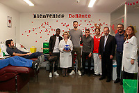 Getafe CF's Amath Ndiaye, Filip Manojlovic, Francisco Portillo, President Angel Torres and coach Jose Bordalas during the Christmas visit to the Children's Hospital of the city. December 12,2017. (ALTERPHOTOS/Acero)