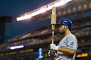 Eric Hosmer #35 of the Kansas City Royals warms up on-deck during a game against the Minnesota Twins on June 27, 2013 at Target Field in Minneapolis, Minnesota.  The Twins defeated the Royals 3 to 1.  Photo by Ben Krause