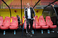 Ronald Koeman, the Southampton manager on his crutches looking on from the dugout before k/o. Barclays Premier League, Watford v Southampton at Vicarage Road in London on Sunday 23rd August 2015.<br /> pic by John Patrick Fletcher, Andrew Orchard sports photography.