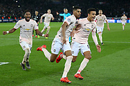 GOAL - Manchester United Forward Marcus Rashford celebrates his penalty 1-3 with Manchester United forward Mason Greenwood and Manchester United Midfielder Fred during the Champions League Round of 16 2nd leg match between Paris Saint-Germain and Manchester United at Parc des Princes, Paris, France on 6 March 2019.