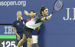 September 6, 2017 - New York, New York, United States - Roger Federer of Switzerland returns ball during match against Juan Martin del Potro of Argentina at US Open Championships at Billie Jean King National Tennis Center  (Credit Image: © Lev Radin/Pacific Press via ZUMA Wire)