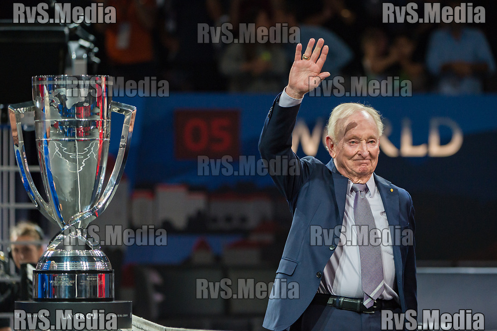 GENEVA, SWITZERLAND - SEPTEMBER 22: Rod Laver greets the spectators during Day 3 of the Laver Cup 2019 at Palexpo on September 20, 2019 in Geneva, Switzerland. The Laver Cup will see six players from the rest of the World competing against their counterparts from Europe. Team World is captained by John McEnroe and Team Europe is captained by Bjorn Borg. The tournament runs from September 20-22. (Photo by Robert Hradil/RvS.Media)