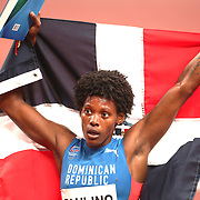 TOKYO, JAPAN August 6:   Marileidy Paulino of the Dominican Republic celebrates her silver medal in the 400m for women during the Track and Field competition at the Olympic Stadium  at the Tokyo 2020 Summer Olympic Games on August 6th, 2021 in Tokyo, Japan. (Photo by Tim Clayton/Corbis via Getty Images)