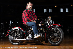 Jim Gilfoyle on his restored 1938 Harley-Davidson EL Knucklehead at the Mama Tried Show. Milwaukee, WI. USA. Friday February 23, 2018. Photography ©2018 Michael Lichter.
