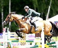 Hest sprang løp , <br /> Norway Grand Prix 2008 , <br /> Drammen Internasjonalt stevne , <br /> 21.06.08 , <br /> Shane Breen fra Ireland på hesten Little Ear , <br /> Foto: Thomas Andersen / Digitalsport
