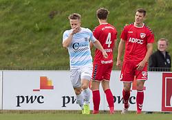 Jeppe Kjær (FC Helsingør) jubler efter lynscoringen til 0-1 under kampen i 1. Division mellem FC Fredericia og FC Helsingør den 4. oktober 2020 på Monjasa Park i Fredericia (Foto: Claus Birch).