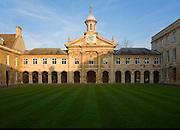 Clock tower and quadrangle courtyard of Emmanuel College, University of Cambridge, England