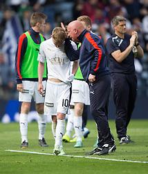 Falkirk's Craig Sibbald and Falkirk's manager Peter Houston at the end. Falkirk 1 v 2 Inverness CT, Scottish Cup final at Hampden.