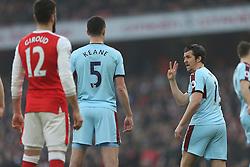 22 January 2017 London : Premier League Football : Arsenal v Burnley :<br /> Joey Barton of Burnley organises the defence.<br /> Photo: Mark Leech