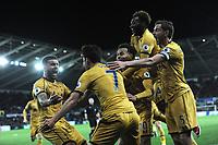 CELE - Tottenham Hotspur's Son Heung-Min celebrates scoring his sides second goal with team mates<br /> <br /> Photographer Ashley Crowden/CameraSport<br /> <br /> The Premier League - Swansea City v Tottenham Hotspur - Wednesday 5th April 2017 - Liberty Stadium - Swansea<br /> <br /> World Copyright © 2017 CameraSport. All rights reserved. 43 Linden Ave. Countesthorpe. Leicester. England. LE8 5PG - Tel: +44 (0) 116 277 4147 - admin@camerasport.com - www.camerasport.com