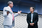 Tom Still from Wisconsin Technology Council and Jeff Rusinow from Silicon Pastures at the Wisconsin Entrepreneurship Conference at Venue 42 in Milwaukee, Wisconsin, Tuesday, June 4, 2019.