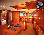 The crew's eating area as well as a view of the galley.  The boat has sufficient food storage for 30 days at sea.