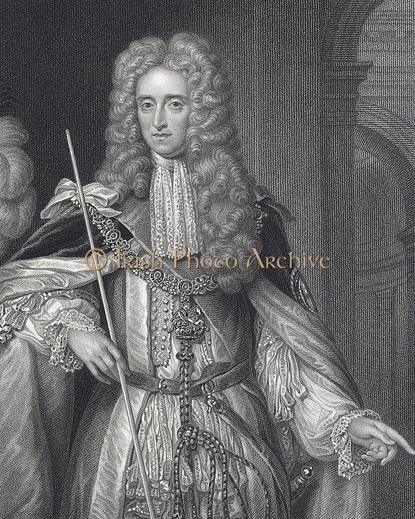Thomas Osborne, first Duke of Leeds (1632-1712) English statesman, created Earl  Danby in 1674 and Duke of Leeds in 1694.  Engraving after portrait by Van der Vaart.
