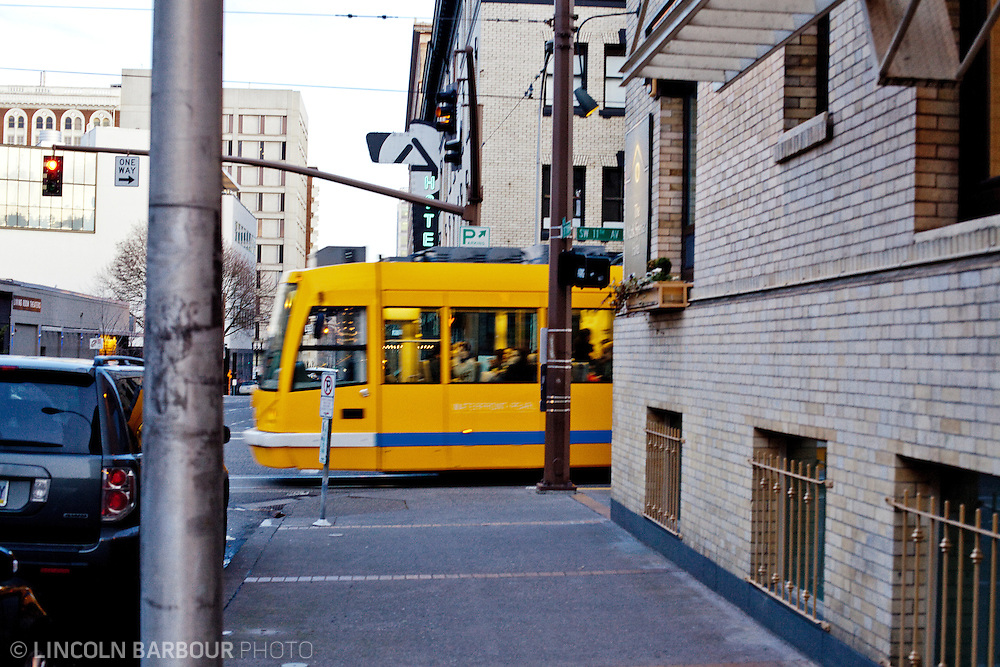 Portland Streetcar passing through the Pearl District