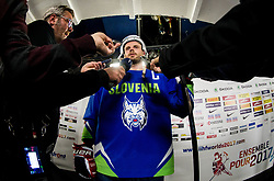 Jan Mursak of Slovenia in mix zone after the 2017 IIHF Men's World Championship group B Ice hockey match between National Teams of Slovenia and Belarus, on May 13, 2017 in AccorHotels Arena in Paris, France. Photo by Vid Ponikvar / Sportida