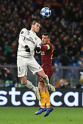 November 27, 2018 - Rome, Italy - Gareth Bale of Real Madrid competes for the ball with Alessandro Florenzi of As Roma during the Champions league football match between AS Roma  and Real Madrid at Olimpico stadium in Rome, Italy, on November 27, 2018. (Credit Image: © Federica Roselli/NurPhoto via ZUMA Press)