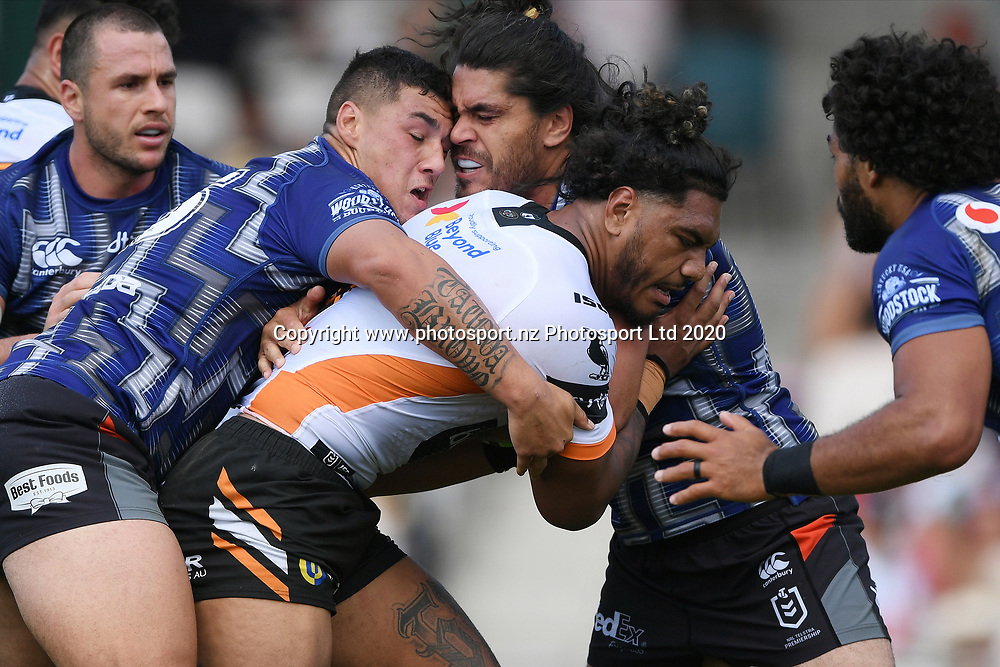 Wests Tigers Thomas Mikaele is tackled in the NRL Trial, Vodafone Warriors v Wests Tigers, Rotorua Stadium, Rotorua, Sunday, March 01, 2020. Copyright photo: Kerry Marshall / www.photosport.nz