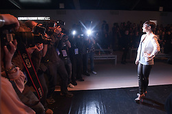 © Licensed to London News Pictures. 21/02/2012. London, UK.  Singer Frankie Sandford from The Saturdays poses for photographers before Aminaka Wilmont Autumn/Winter 2012 collection on day 5 of London Fashion Week 2012, on February 21st, 2012 . Photo credit : Ben Cawthra/LNP