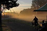 early morning along the highway at a rest stop in Belgium