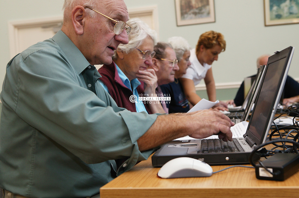 A computer training class for the over 60s; the Sybil Levin Centre; Age Concern; Nottingham,