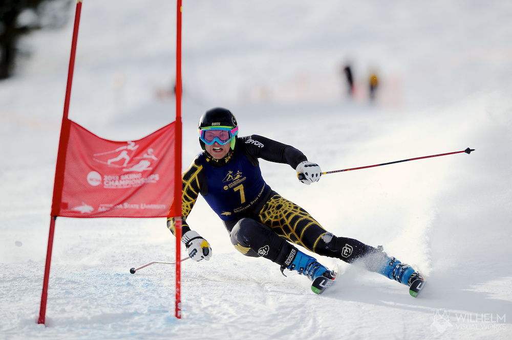 07 MAR 2012:  Adam Zika of the University of Colorado during the Men's Giant Slalom Alpine event at the NCAA Division I Men and Women's Ski Championship held at Bohart Ranch hosted by Montana State University in Bozeman, MT. Zika placed first to win the national title. © Brett Wilhelm
