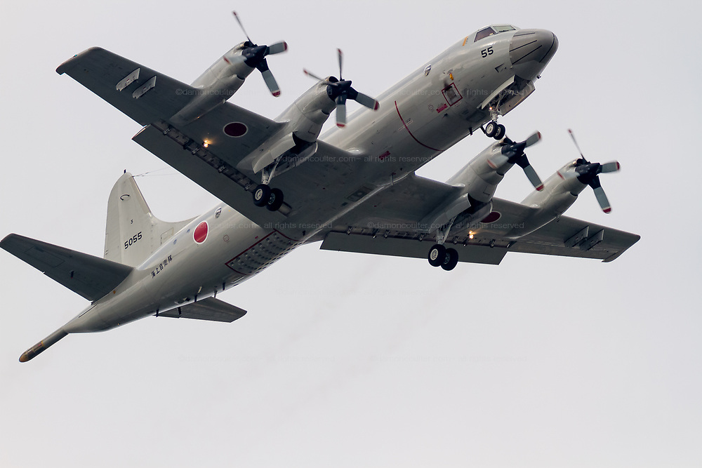 A Lockheed P-3C Orion Maritime reconnaissance aircraft flying with the Japanese Maritime Self Defence Force flies over Kanagawa, Japan. Tuesday May 31st 2016